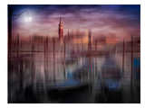 City Art Venice Gondolas At Sunset Print by Melanie Viola