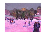 Christmas Skating,Somerset House with Pink Lights, 2014 Giclee Print by Andrew Macara