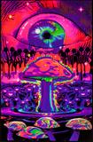 Mushroom Ripple Blacklight Poster Posters