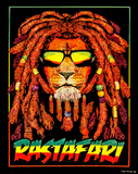 Rasta Lion Blacklight Tapestry Poster