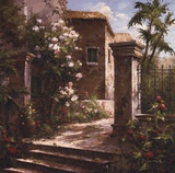 Courtyard With Flowers Posters by Gabriela