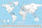 World Map Colour Me In Plakater av WORLDWIDE