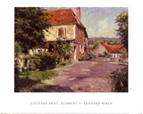 Cottage In St. Clement Print by Leonard Wren