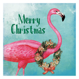 Christmas Flamingo Text Posters by Jace Grey