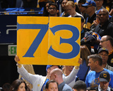 Fan Holds Up 73 Sign - Golden State Warriors vs Memphis Grizzlies, April 13, 2016 Photo by Garrett Ellwood