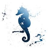 Seahorse Splatter Indigo Posters by Jace Grey