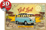 VW Bulli Let's Get Lost Tin Sign