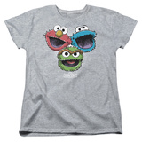 Womans: Sesame Street- Three Lively Monsters T-Shirt