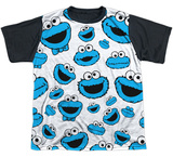 Youth: Sesame Street- Lots Of Cookie Monster Black Back T-Shirt