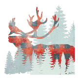 Plaid Caribou Forest Prints by Tina Carlson