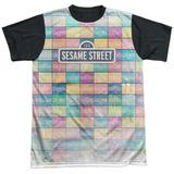 Sesame Street- Logo Color Block Black Back T-shirts