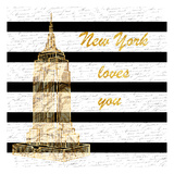 Golden New York Romance Print by Sheldon Lewis