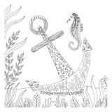 Anchored Seahorse Prints by Pam Varacek