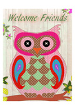 Patchwork Owl Welcome Print by Kimberly Allen