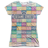Juniors: Sesame Street- Logo Color Block T-Shirt