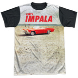 Chevy- Beach Impala At The Beach Black Back T-shirts