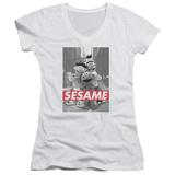 Juniors: Sesame Street- On The Street V-Neck T-Shirt