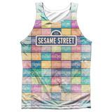 Tank Top: Sesame Street- Logo Color Block (Front/Back) Tank Top
