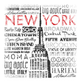 New York Words Mate Posters by Jace Grey