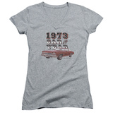 Juniors: Chevy- Monte Carlo '73 Car Of The Year V-Neck Womens V-Necks