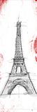 Eiffel Red Pop Sketch Print by  OnRei