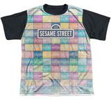 Youth: Sesame Street- Logo Color Block Black Back T-shirts