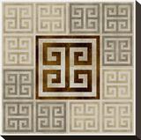 Greek Key III Stretched Canvas Print by Ellie Roberts