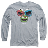 Long Sleeve: Sesame Street- Three Lively Monsters T-shirts