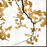 Ginko in Gold II Stretched Canvas Print by Kate Bennett