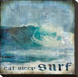 Eat Sleep Surf Stretched Canvas Print by Charlie Carter