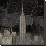Vintage New York in Black I Stretched Canvas Print by Dylan Matthews