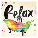 Relax Colorful Bath Art by Jace Grey