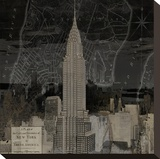 Vintage New York in Black II Stretched Canvas Print by Dylan Matthews
