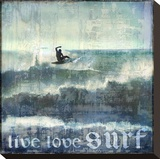 Live Love Surf Stretched Canvas Print by Charlie Carter