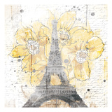 Eiffel Bloom Yellow Prints by  OnRei