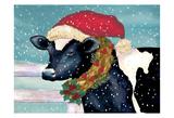 Christmas Cow Art by Laurie Korsgaden