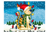Christmas Cat Posters by Laurie Korsgaden