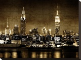 NYC in Sepia Stretched Canvas Print by Kate Carrigan