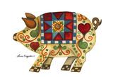 Festive Pig Poster by Laurie Korsgaden