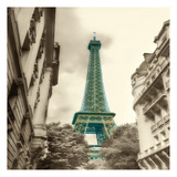 Teal Eiffel Tower 2 Poster by Dianne Poinski