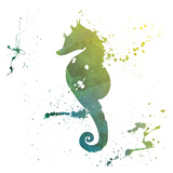 Seahorse Splatter Posters by Jace Grey