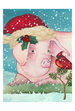 Sir Christmas Pig Art by Laurie Korsgaden