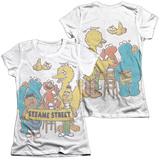 Juniors: Sesame Street- Block Party (Front/Back) T-Shirt
