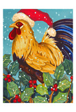 Christmas Rooster Posters by Laurie Korsgaden