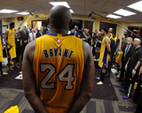 Kobe Bryant 24 Huddles in the Locker Room after his Last Game - April 13, 2016 Photo by Andrew D. Bernstein