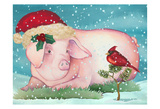 Christmas Pig And Friend Posters by Laurie Korsgaden