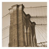 Sepia Brooklyn Bridge Art by Sheldon Lewis