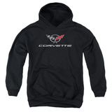 Youth Hoodie: Chevy- Modern Corvette Logo Pullover Hoodie