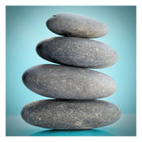 Stacking Stones 2 Teal Print by Sandro De Carvalho