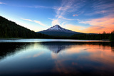 Late Sunset Reflection and Clouds at Trillium Lake, Mount Hood Oregon Photographic Print by Vincent James